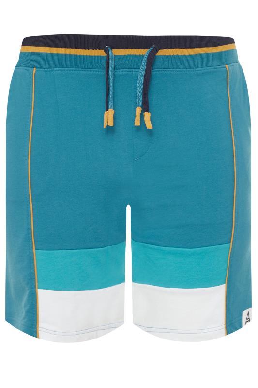 Plus Size Jogger Shorts STUDIO A Blue Colour Block Print Shorts