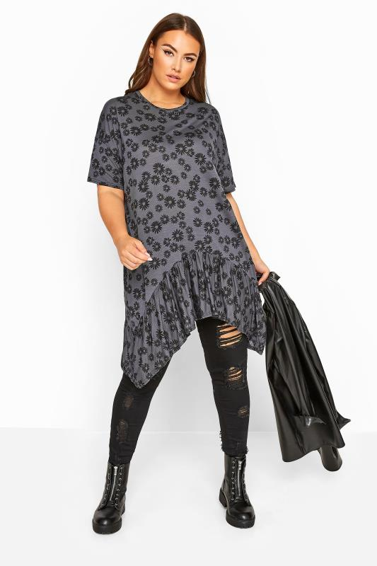 LIMITED COLLECTION Charcoal Grey Daisy Print Hanky Hem Top