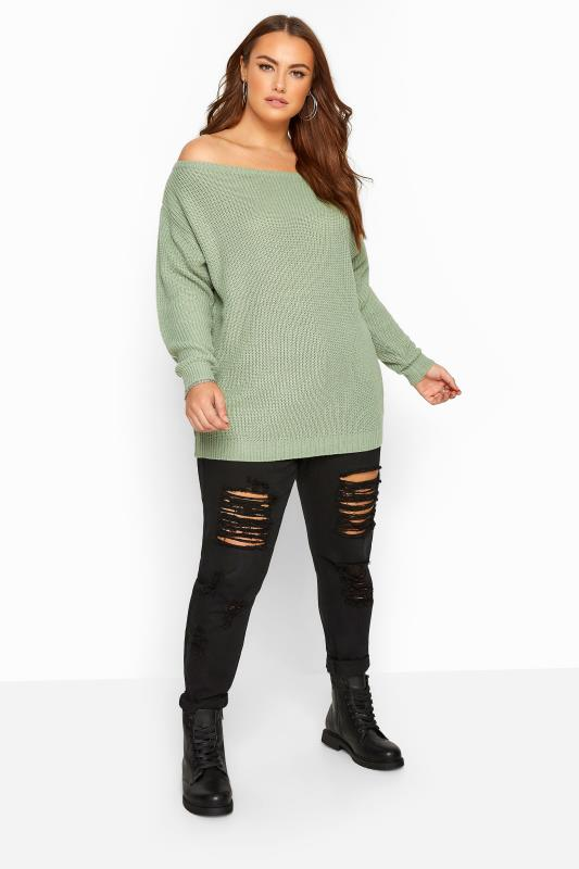 Sage Green Bardot Knitted Jumper