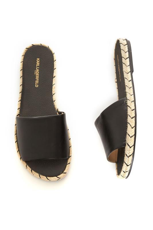 KARL LAGERFELD PARIS Black Espadrille Slide Sandals