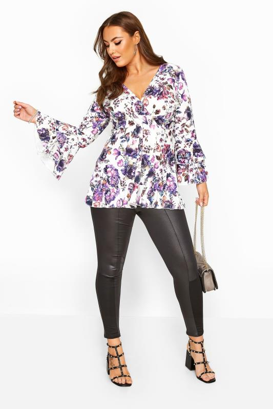 YOURS LONDON White & Purple Floral Wrap Top