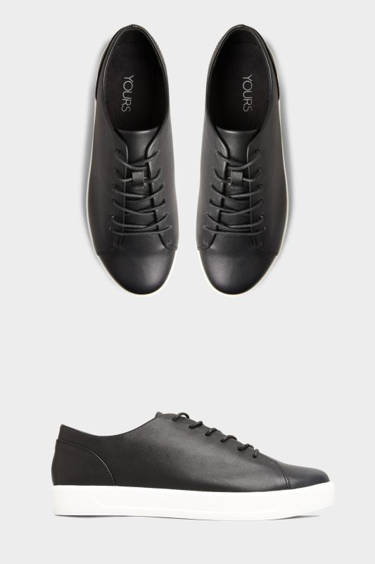 Yours Black Vegan Leather Basic Trainers In Extra Wide Fit