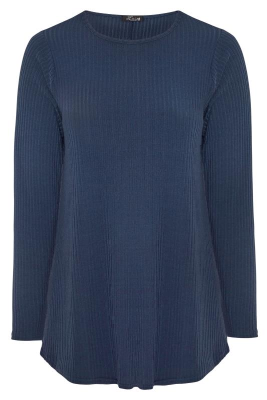 Plus Size Jersey Tops LIMITED COLLECTION Navy Ribbed Long Sleeve Top