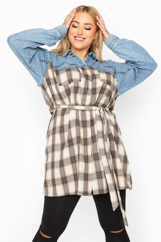 Plus Size  LIMITED COLLECTION Blue Denim Mixed Check Belted Shirt