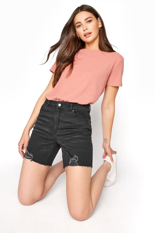Tall  LTS Black Cut Off Ripped Denim Shorts
