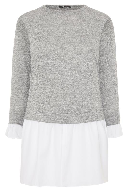 LIMITED COLLECTION Grey 2 in 1 Poplin Hem Knitted Top