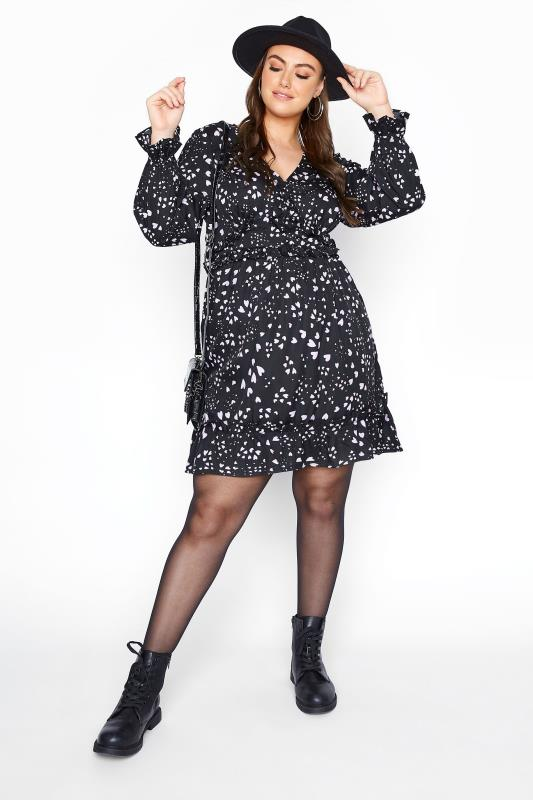 YOURS LONDON Black Heart Ruffle Tunic Dress