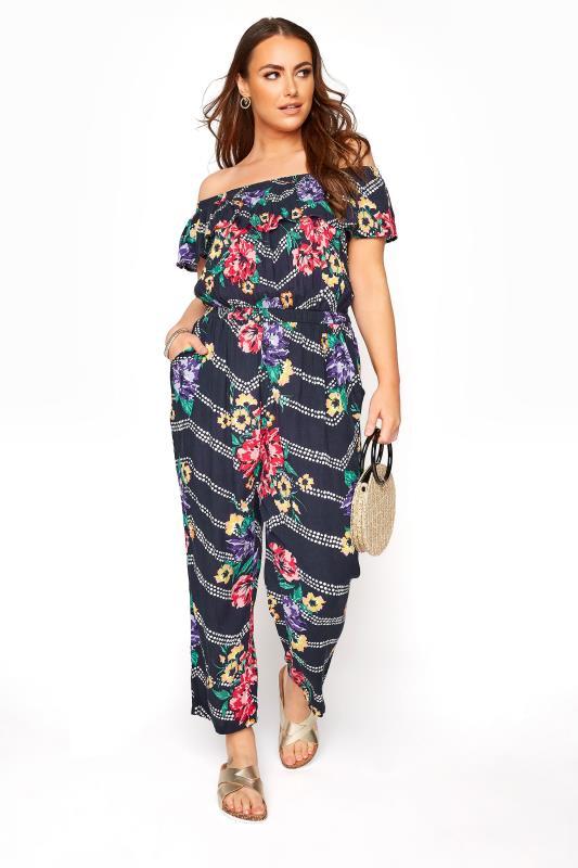 Plus Size Jumpsuits Navy Floral Chevron Print Bardot Crinkle Jumpsuit