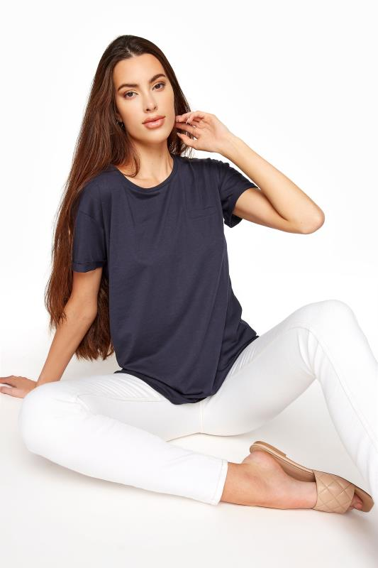 Tall  LTS SUSTAINABLE Navy Organic Cotton Blend Pocket T-Shirt