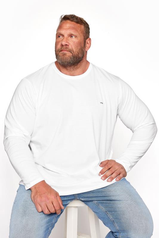 Men's T-Shirts BadRhino White Plain Long Sleeve T-Shirt