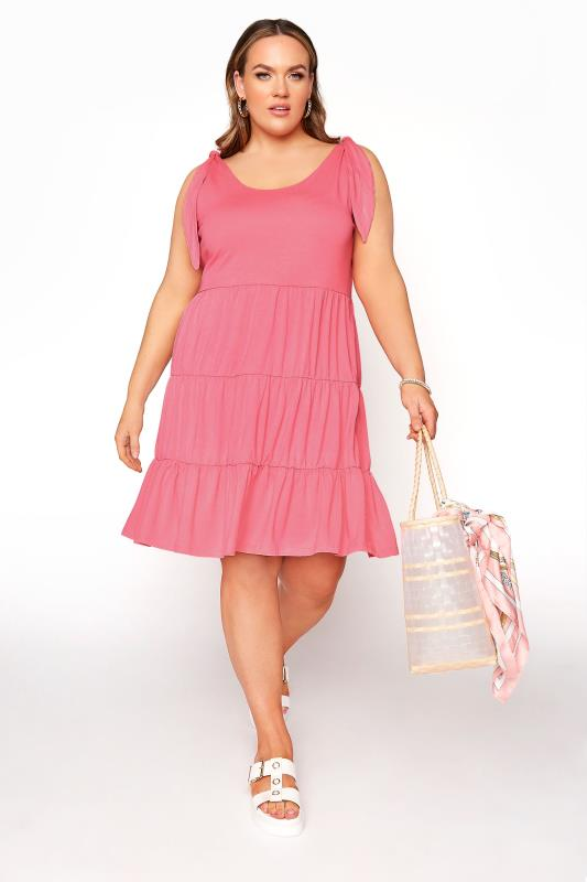 LIMITED COLLECTION Pink Tiered Jersey Dress_B.jpg