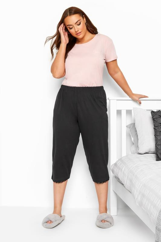 Plus Size Pyjamas Black Crop Pyjama Bottoms