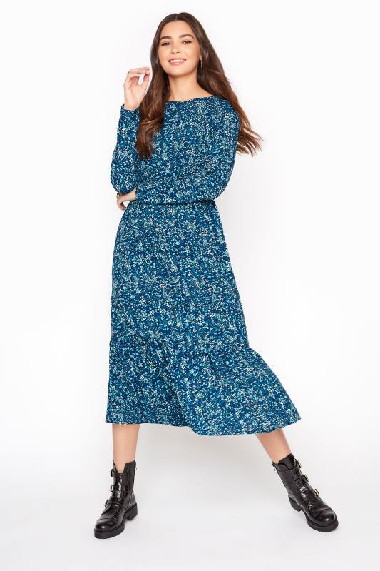 LTS Blue Floral Smock Midi Dress