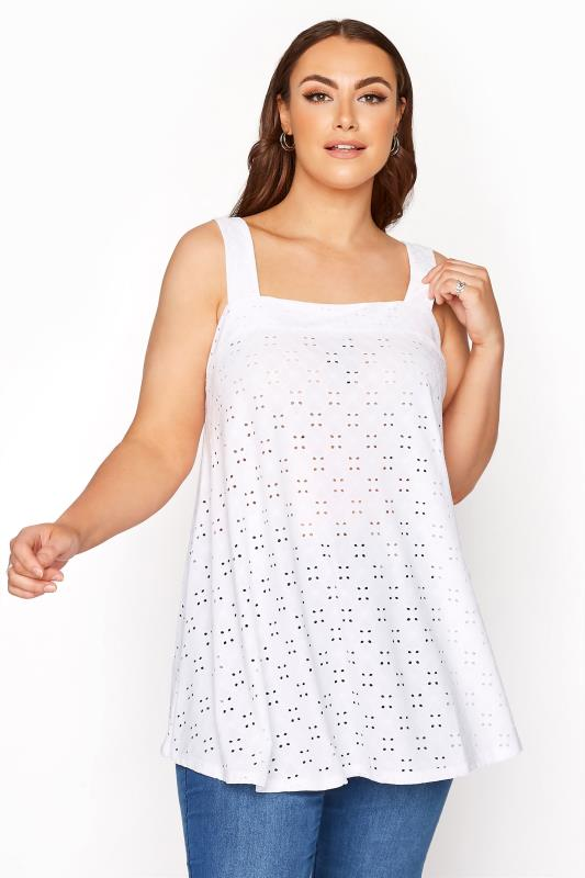 Plus Size  White Broderie Anglaise Vest