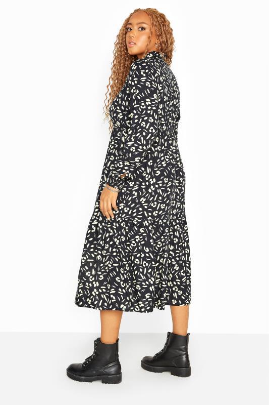 Black Animal Markings Midi Shirt Dress