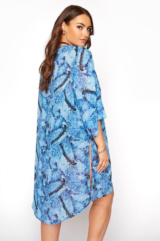 Plus Size  Blue Tile Print Kimono Beach Cover Up