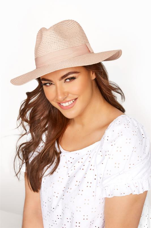 Plus Size  Blush Straw Fedora Hat