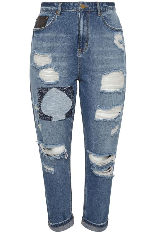 Mid Blue Extreme Ripped Patch Mom Jeans_BK.jpg