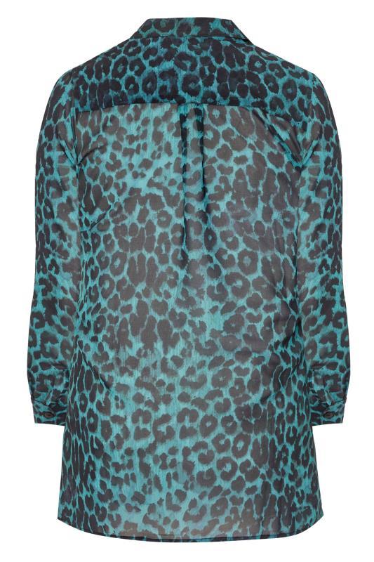 LTS Teal Blue Leopard Chiffon Shirt