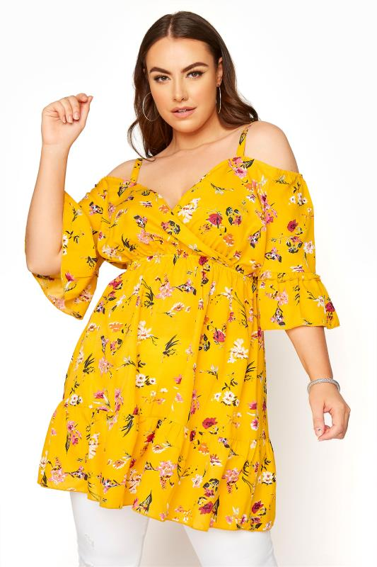 Yellow Floral Cold Shoulder Frill Top_A.jpg