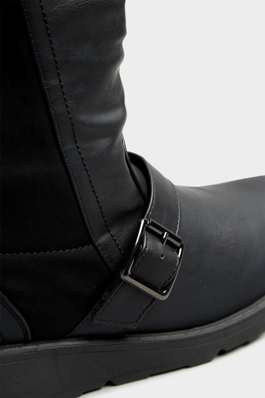 Black Faux Leather Wedge Buckle Boots In Extra Wide Fit_D.jpg