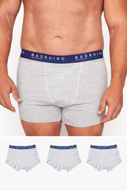 Men's  BadRhino Grey Essential 3 Pack Boxers