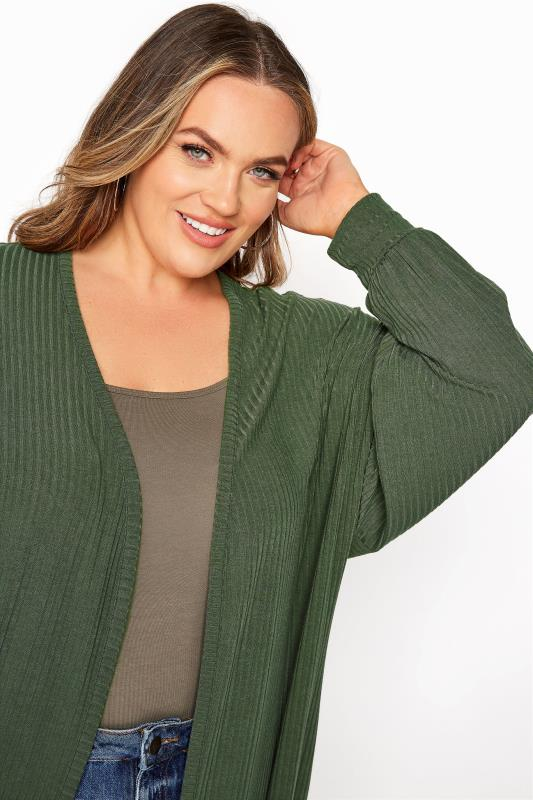 LIMITED COLLECTION Khaki Ribbed Long Cardigan_D.jpg