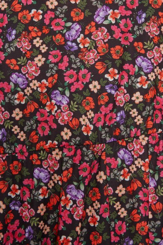 YOURS LONDON Black Ditsy Print Wrap Midi Dress_S.jpg