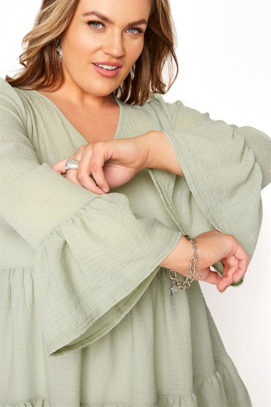 YOURS LONDON Sage Green Ruffle Sleeve Tiered Smock Top_D.jpg