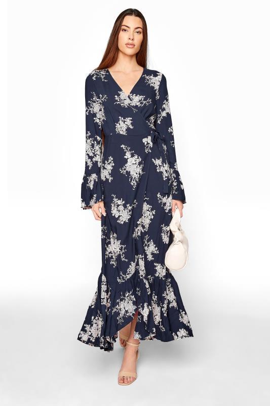 Tall  LTS Navy Floral Wrap Dress