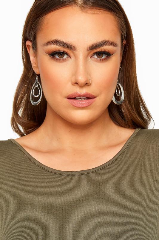 Plus Size  Silver Double Hoop Oval Drop Earrings