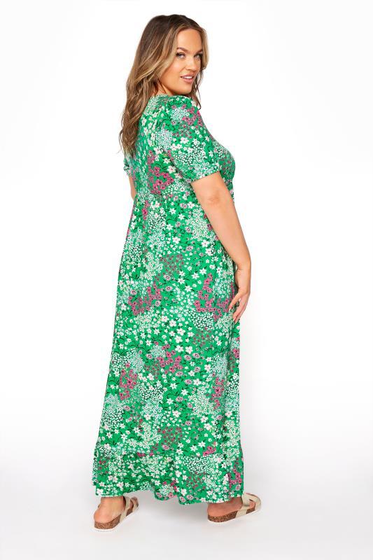 YOURS LONDON Green Floral Jersey Tea Dress_C.jpg