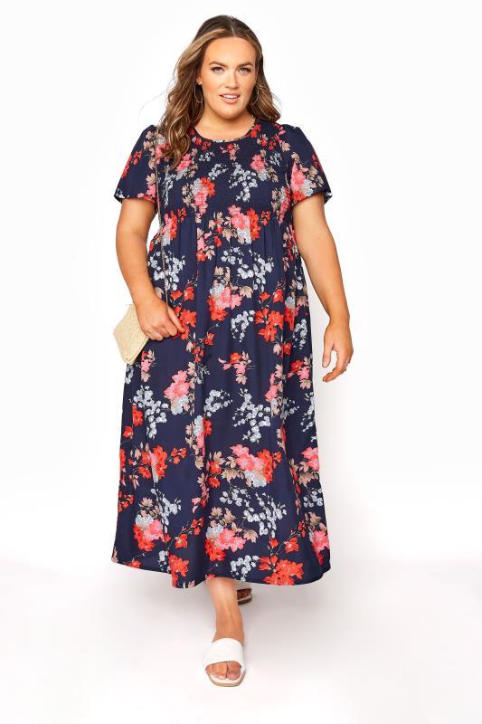 Blue Floral Shirred Maxi Dress_B.jpg