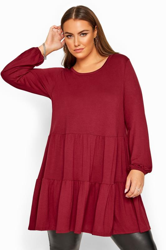 Plus Size Tunics Berry Balloon Sleeve Tiered Smock Tunic