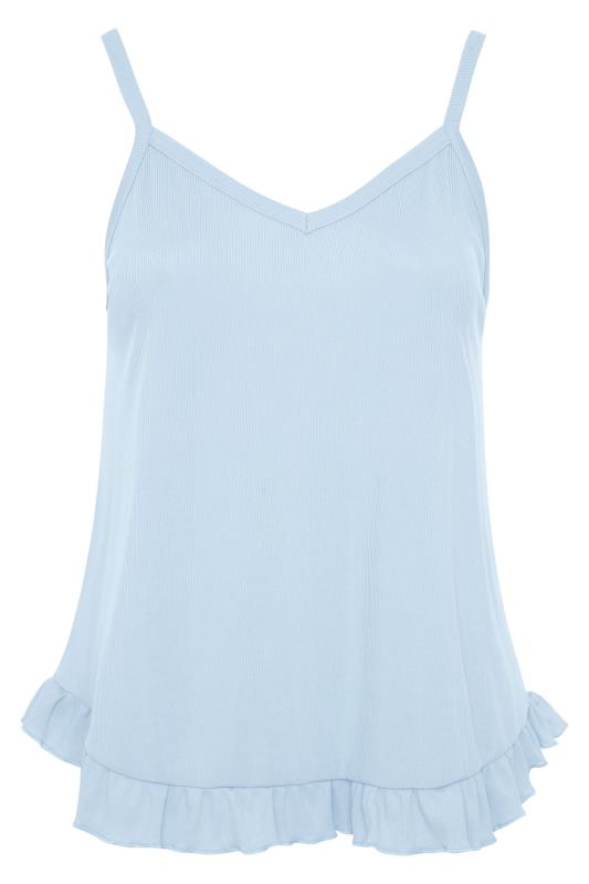 LIMITED COLLECTION Light Blue Frill Ribbed Pyjama Top_F.jpg
