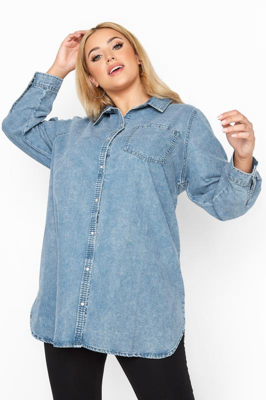 Plus Size  Blue Acid Wash Denim Shirt