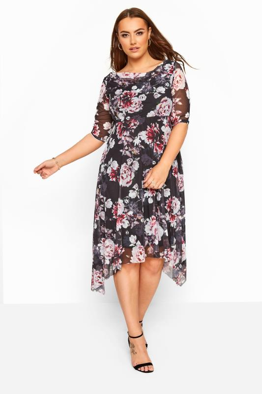 Plus Size Jersey Dresses Black & Pink Floral Cowl Neck Mesh Dress