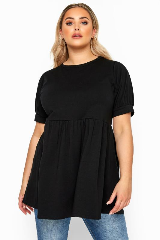 Plus Size Day Tops LIMITED COLLECTION Black Cotton Smock Top