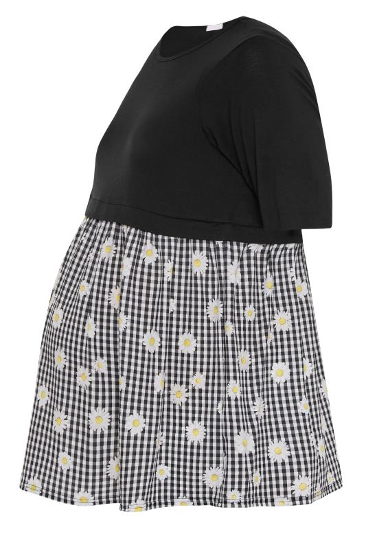 BUMP IT UP MATERNITY Black Gingham Floral Contrast Top_F.jpg