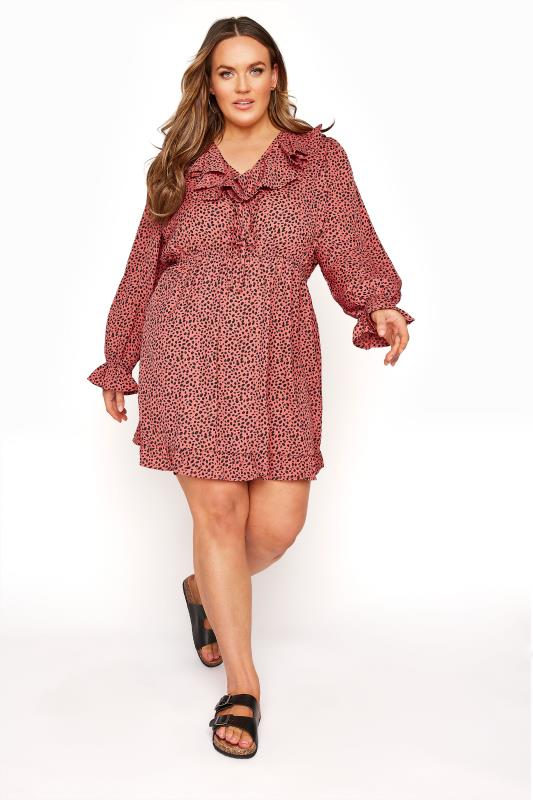 Plus Size  YOURS LONDON Pink Dalmatian Tiered Tunic Dress