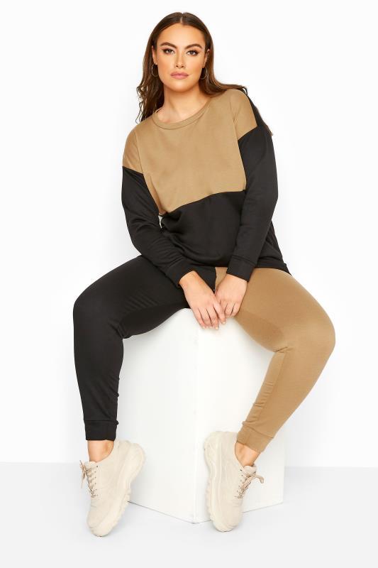Plus Size  Camel & Black Contrast Joggers