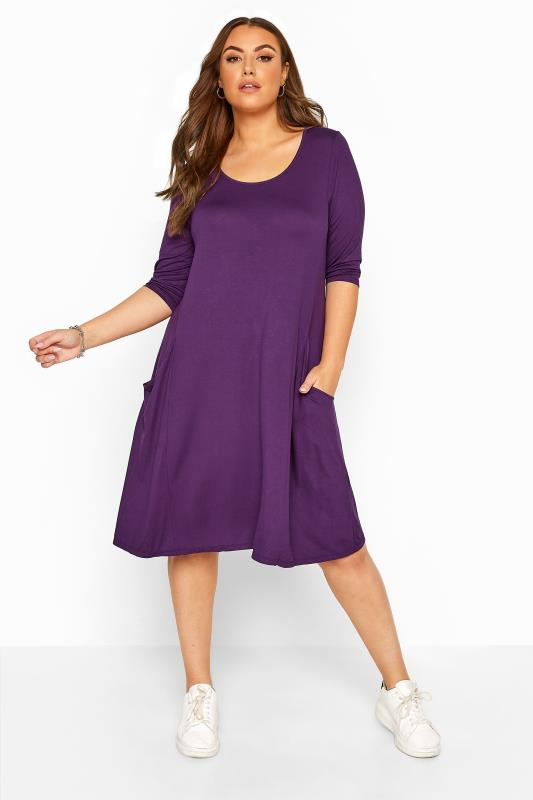 Plus Size  Purple Drape Pocket Dress