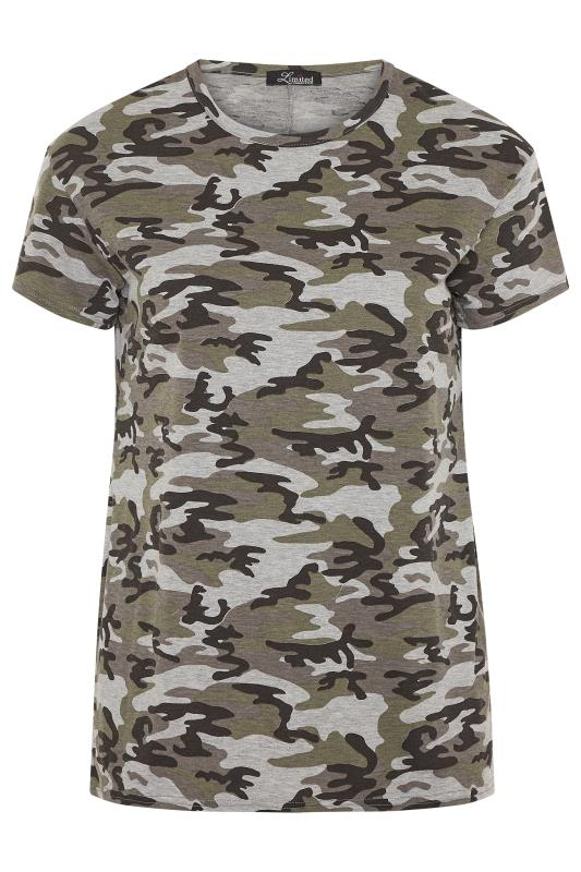 LIMITED COLLECTION Khaki Jersey Camo Print T-Shirt