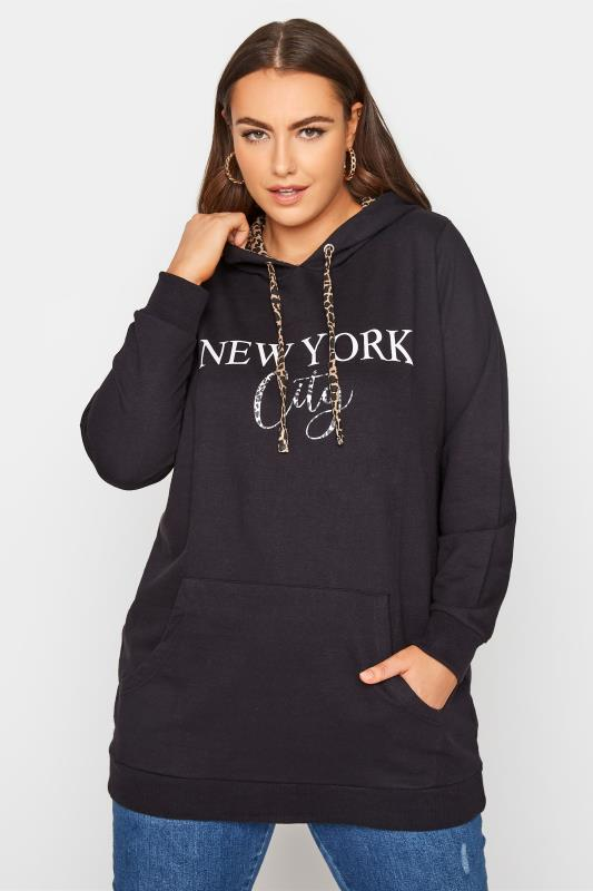 Plus Size  Black 'New York City' Animal Print Hoodie