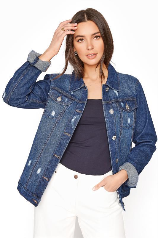 Tall  LTS Indigo Denim Distressed Jacket