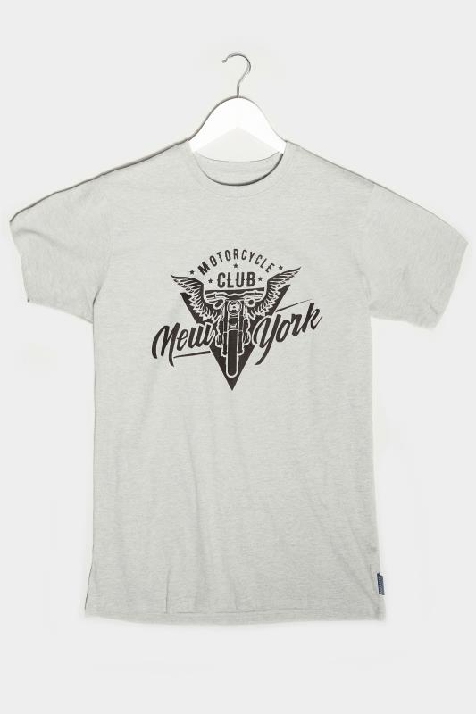 BadRhino Grey Marl Motorcycle Club Graphic Print T-Shirt