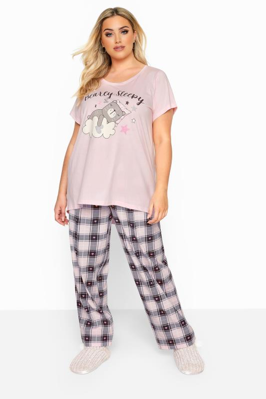 Pink 'Bearly Sleepy' Slogan Check Pyjama Set