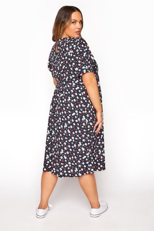 BUMP IT UP MATERNITY Navy Floral Puff Sleeve Midi Dress_C.jpg