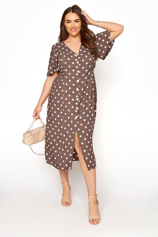 YOURS LONDON Brown Polka Dot Button Through Midi Dress_B.jpg