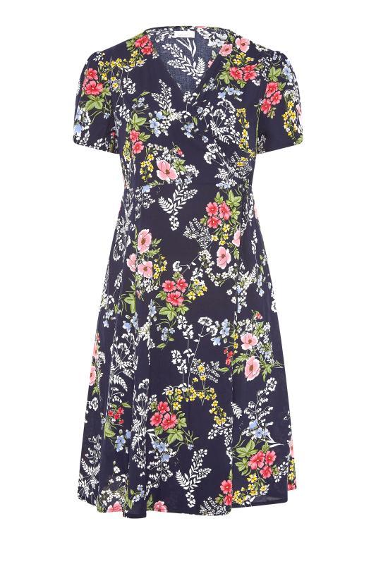 YOURS LONDON Navy Floral Wrap Midi Dress_F.jpg